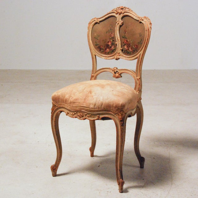 Blue French Gilt & Painted Boudoir Chairs - A Pair For Sale - Image 8 of 11