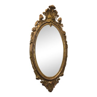 Antique French Louis XV Oval Giltwood Mirror For Sale