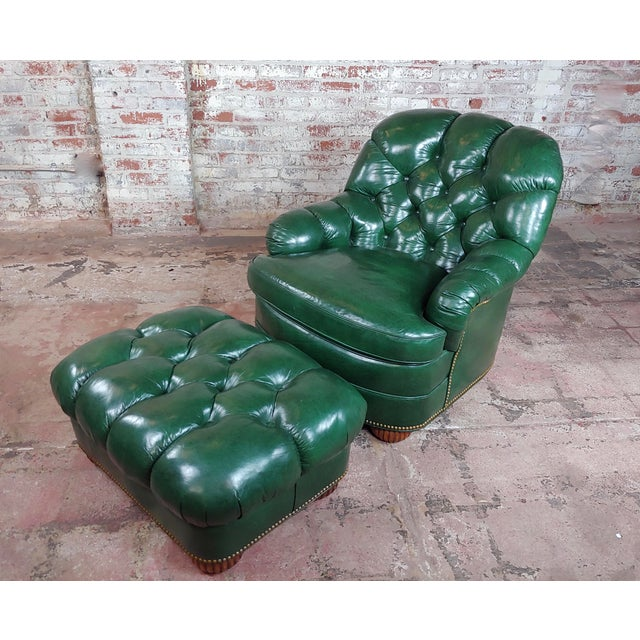 Hancock & Moore Tufted Green Leather Club Chair with Ottoman For Sale - Image 11 of 11
