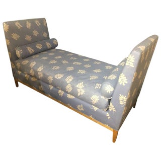 Leaf Motif Upholstered Daybed With Bolster Pillows For Sale