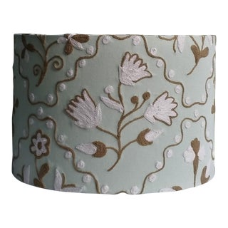 Large Jacobean Wool Crewel Embroidery Drum Lampshade Mint Green For Sale