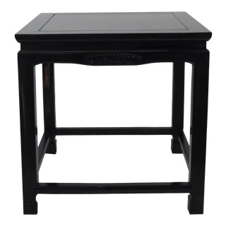 Chinese Black Lacquer Square Side Table For Sale
