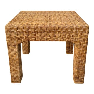 Boho Chic Rattan Side Table For Sale