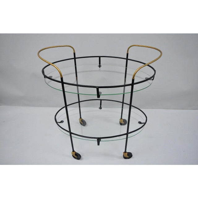 Vintage Metal Iron & Glass Atomic Era Oval Rolling Bar Cart For Sale - Image 12 of 13