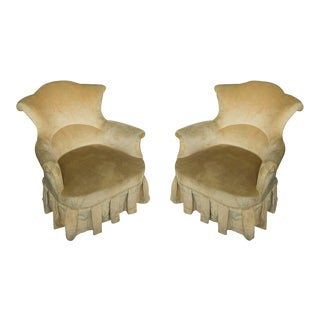 Pair of French, 19th Century Armchairs in Faded Gold Velvet For Sale
