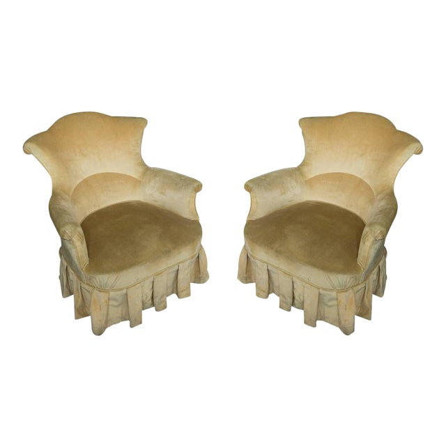 Pair of French, 19th Century Armchairs in Faded Gold Velvet - Image 1 of 10