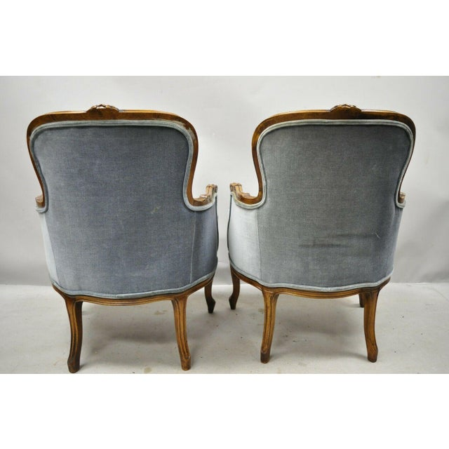 Vintage French Louis XV Provincial Blue Bergere Lounge Arm Chairs - a Pair For Sale - Image 9 of 13