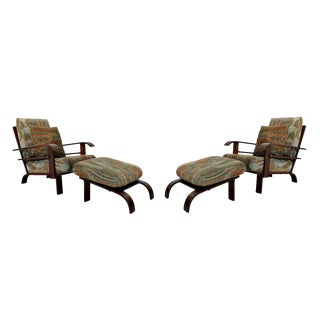 1960s Mid Century Modern Russell Wright Lounge Armchairs & Ottomans - 4 Pieces For Sale