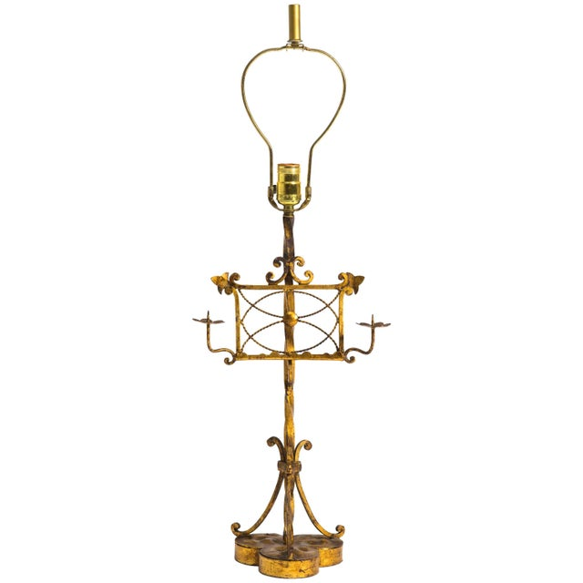 Gilt Metal Italian Music Stand Table Lamp For Sale In New York - Image 6 of 6