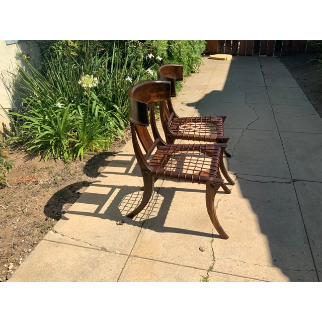 Klismos Walnut Chairs - a Pair For Sale - Image 4 of 10