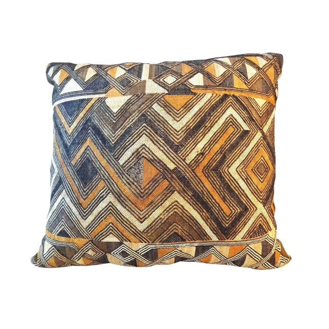 African Embroidered Kuba Textile Pillow - Image 1 of 7