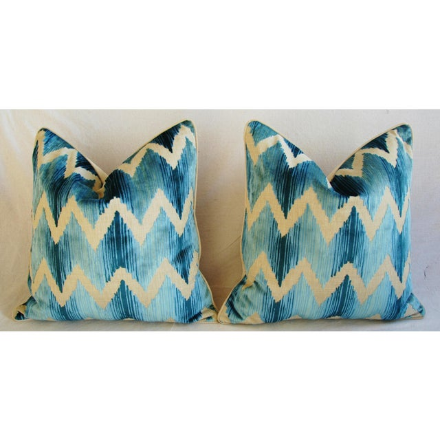 "Feather Boho Chic Chevron Flamestitch Cut Aqua Velvet Feather/Down Pillows 24"" Square - Pair For Sale - Image 7 of 15"