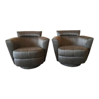 Vintage Vladimir Kagan Style Swivel Chairs Armchairs Platform Base - a Pair For Sale