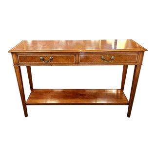 English Two Tier Burled Walnut Console For Sale