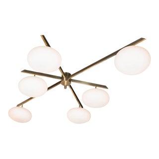 Brass and Glass Six-Arm Globe Flush Mount Chandelier For Sale