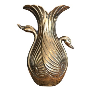 Mid-Century Solid Brass Conjoined Swan Vase