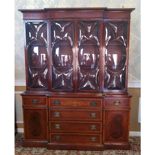 Very Good 1940s Inlaid & Banded Mahogany Living Room Breakfront ...