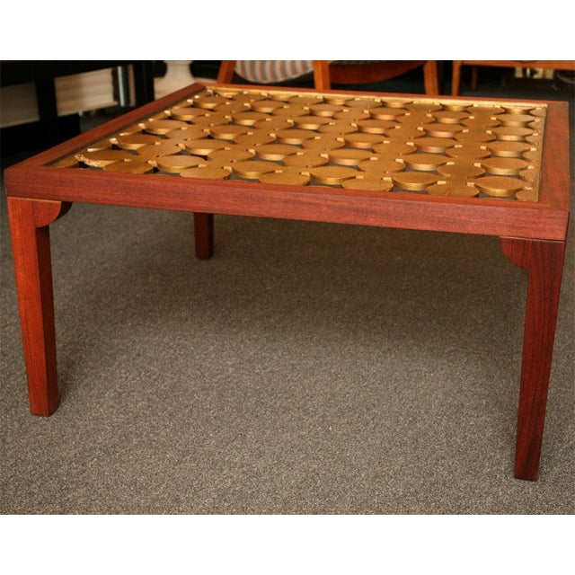 Parzinger Style Classy 50's Mahogany & Giltwood Grille Coffee Table - Image 6 of 13
