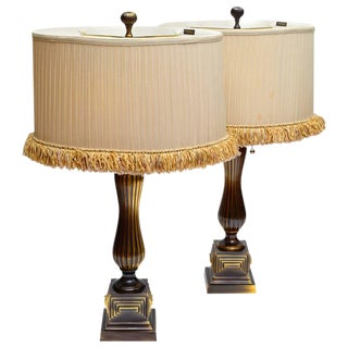 Frederick Cooper Pair of Vintage Bronze Table Lamps For Sale