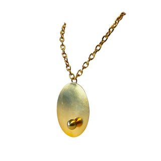 Vintage Gold Modernist Architectural Pendant Statement Necklace For Sale