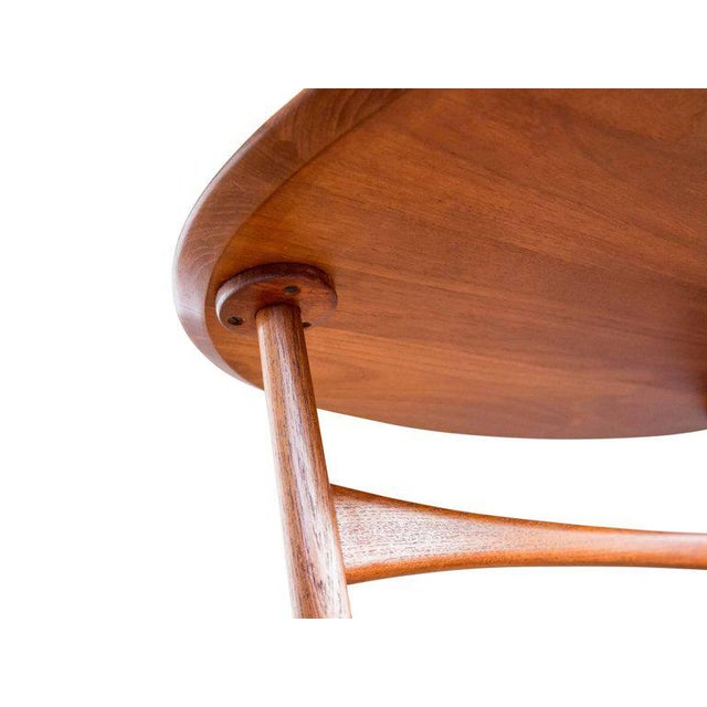 Brass Triangular Teak Folding Table by Peter Hvidt & Orla Mølgaard-Nielsen For Sale - Image 7 of 9