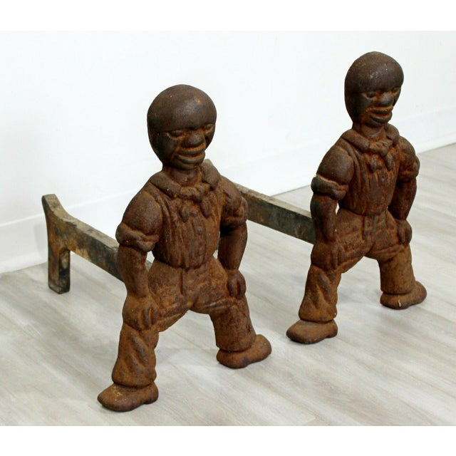 Mid 20th Century Antique Brutalist Iron African Art Male Figurine Fireplace Log Andirons - A Pair For Sale - Image 5 of 7