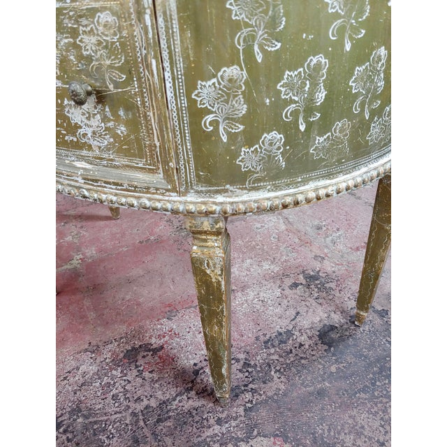 Green Antique Italian Florentine Demilune Gilt-Wood Commodes - A Pair For Sale - Image 8 of 10