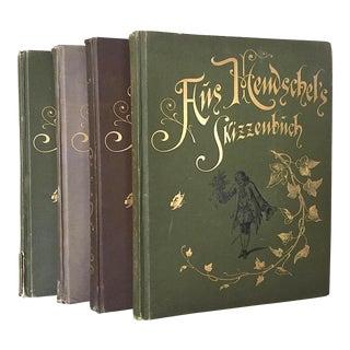 Late 19th Century Antique Aus A. Hendschel's Skizzenbuch Volumes I, II, III & IV Books - Set of 4 For Sale