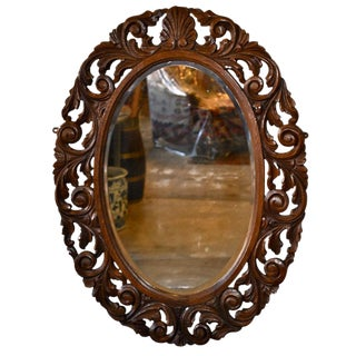 English Carved Oval Wall Mirror For Sale