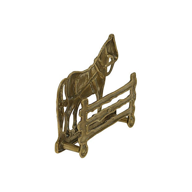 Antique English brass horse and fence letter rack. No makers mark. Light wear.