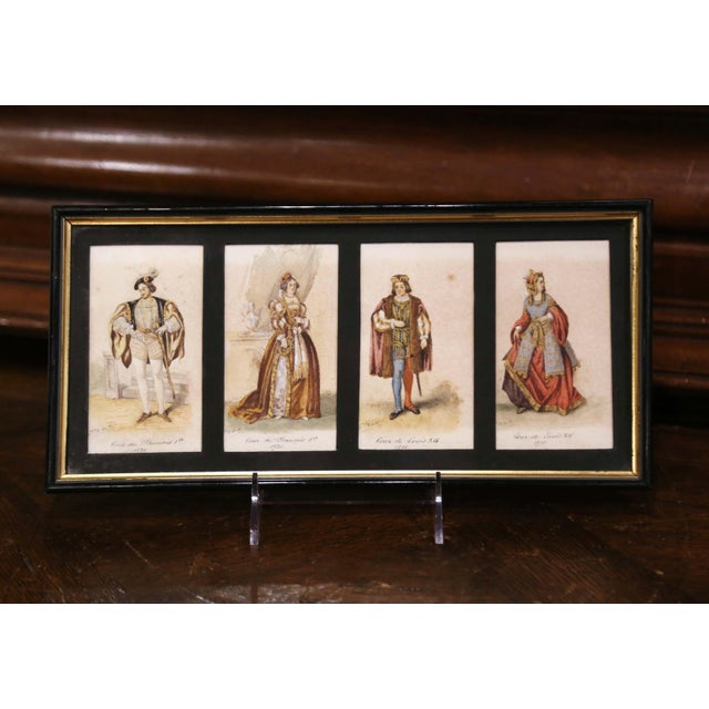 """Late 19th Century 19th Century French King of France Framed Color Prints """"Set of Three"""" For Sale - Image 5 of 12"""