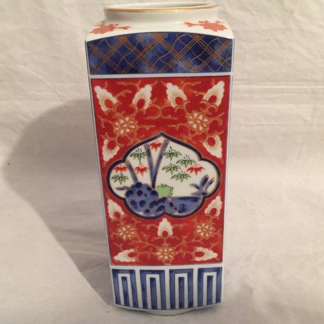 Asian Traditional Japanese Porcelain Column Vase For Sale - Image 3 of 8
