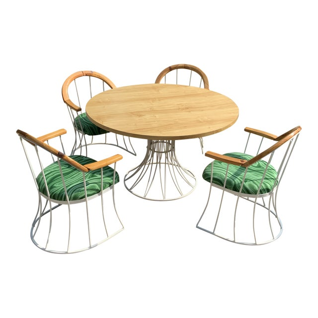 Restored Mid-Century Platner Style Round Table & Chairs For Sale