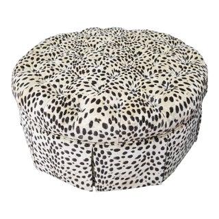 Designer Leopard Tufted Fabric Poof For Sale