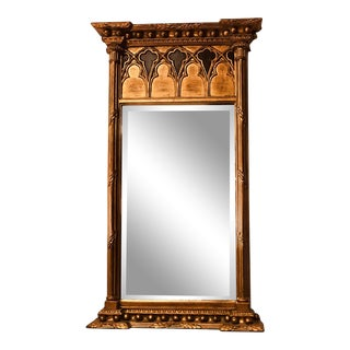Mid 20th Century Federal Style Beveled Mirror With Gothic Revival Arches and Gilded Finish For Sale