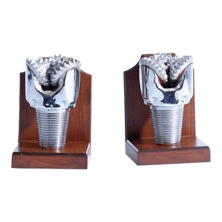 Chrome Hughes Tool Tricone Drill Bits Made Into Bookends - a Pair For Sale