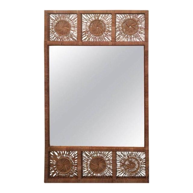 Rattan Boho Tropical Palm Beach Bamboo Oversized Wall Mirror - Image 1 of 11