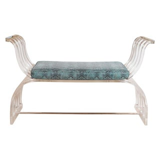 Curvilinear Lucite and Chrome Bench For Sale
