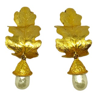 Dominique Aurientis Gold Leaf & Baroque Pearl Dangle Clip on Earrings For Sale