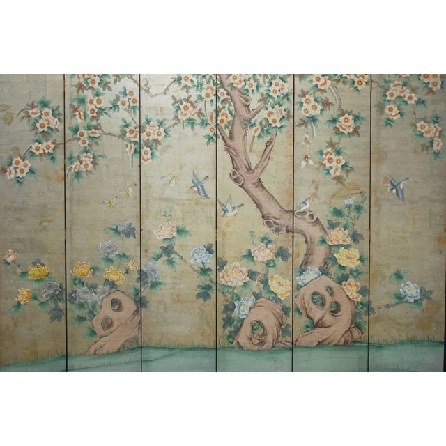 Chinoiserie Painted Silver Leaf 6 Panel Wallpaper Screen
