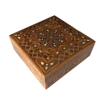 Vintage Marquetry Jewelry Box For Sale