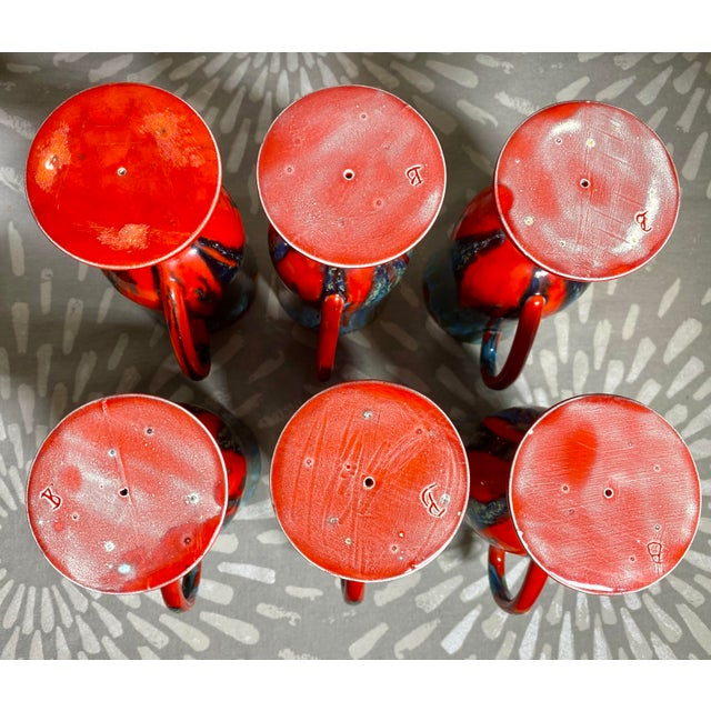 Ceramic 1970s Vintage Hand-Crafted Blue & Red Drip Glaze Ceramic Pottery Footed Mugs- Set of 6 For Sale - Image 7 of 8