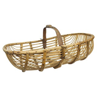Antique French Wooden Basket For Sale