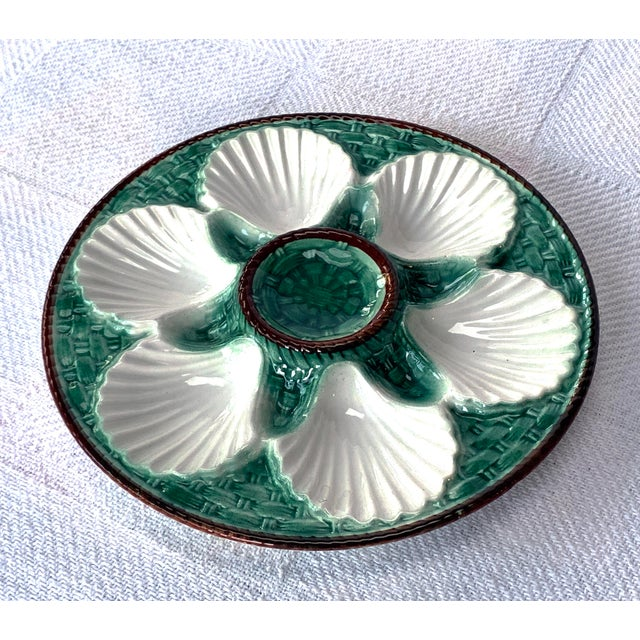 Mid 20th Century Vintage French Majolica Oyster Plate For Sale - Image 5 of 5