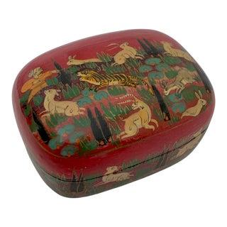 Vintage Hunter Tiger Indian Paper Mache Trinket Box For Sale