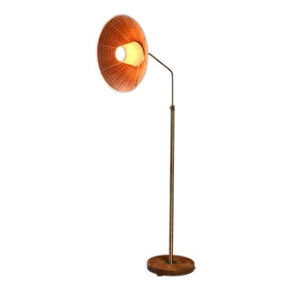 Height-Adjustable Brass and Wood Floor Lamp, Sweden, 1930s For Sale
