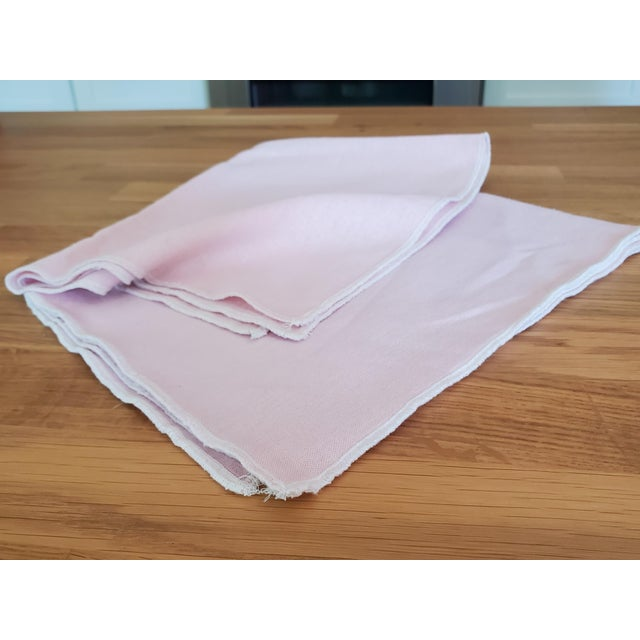 Contemporary Pink Linen Kitchen Tea Dish Towels - a Pair For Sale - Image 3 of 7