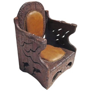 1960s Hand-Carved Folk Art Armchair in an Underwater Theme For Sale