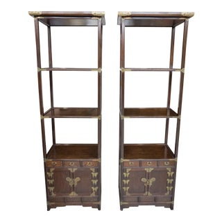 Asian Teak Butterfly Etageres - a Pair For Sale
