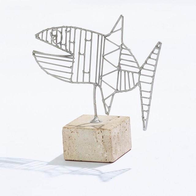 1960s Vintage Georges Braque Style Aluminum on Travertine Fish Sculpture For Sale - Image 5 of 5